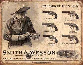 Tin Sign - Smith & Wesson - Revolver Manufacturer (Weathered)