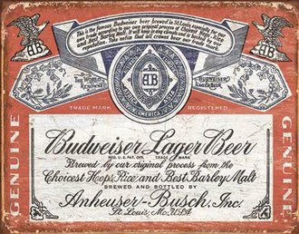 Tin Sign - Budweiser Historic Label (Weathered)