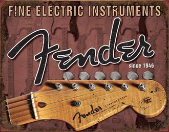 Tin Sign - Fender - Headstock (Weathered)