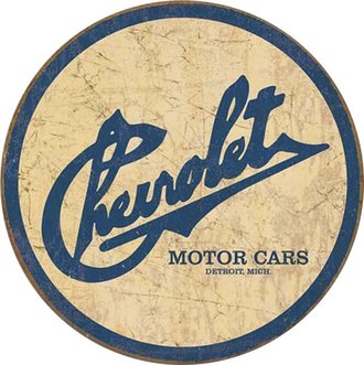 Tin Sign - Chevy Historic Logo (Weathered) (Round)