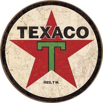 Tin Sign - Texaco 1936 Logo (Weathered) (Round)