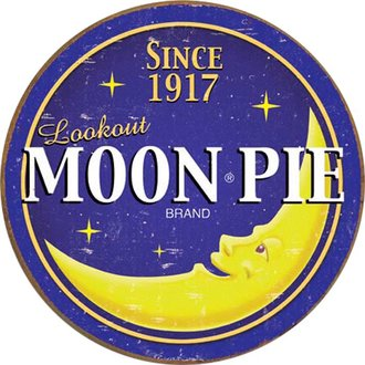 Tin Sign - Moon Pie Logo (Weathered) (Round)
