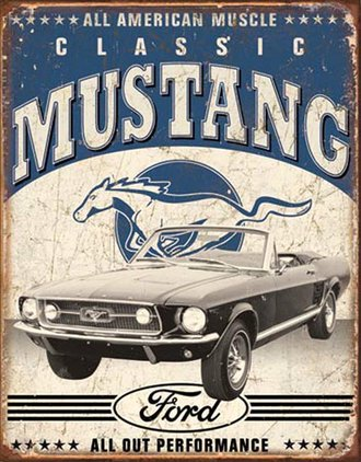 Tin Sign - Classic Ford Mustang (Weathered)