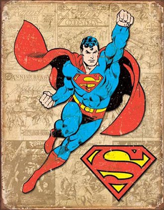 Tin Sign - Superman - Retro Panels (Weathered)