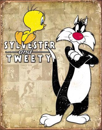 Tin Sign - Sylvester & Tweety - Retro (Weathered)