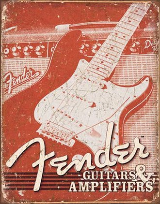 Tin Sign - Fender - Guitars & Amps (Weathered)