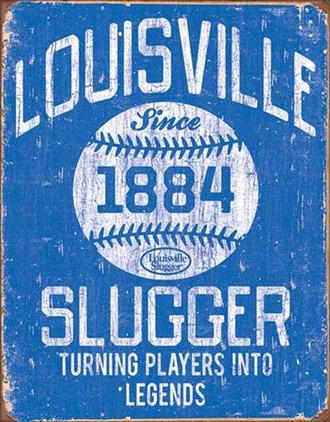 Tin Sign - Louisville Slugger - Blue (Weathered)