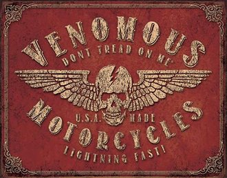 Tin Sign - DTOM - Venomous Motorcycles (Weathered)