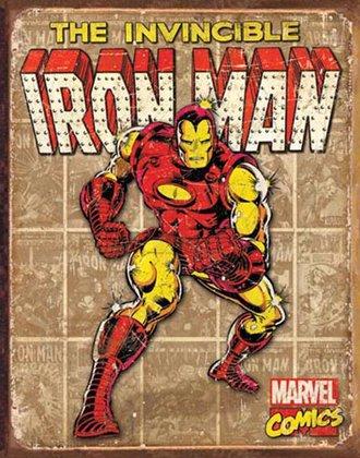 Tin Sign - Iron Man - Retro Panels (Weathered)
