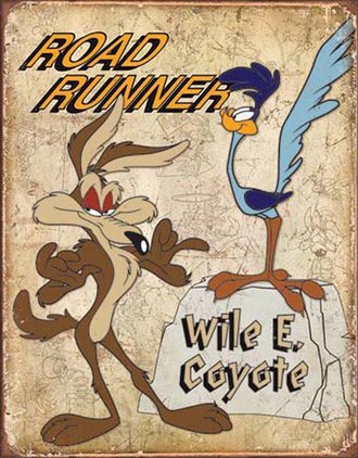Tin Sign - Road Runner & Wile E. Coyote - Retro (Weathered)
