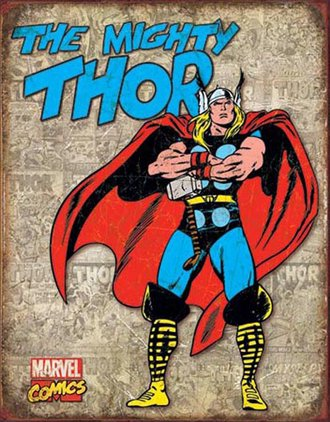 Tin Sign - Thor - Retro Panels (Weathered)
