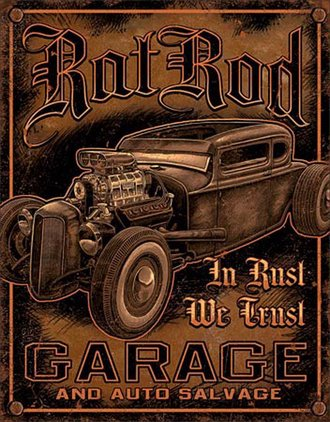 Tin Sign - Rat Rod Garage