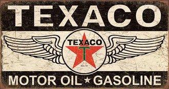Tin Sign - Texaco Winged Logo (Weathered)