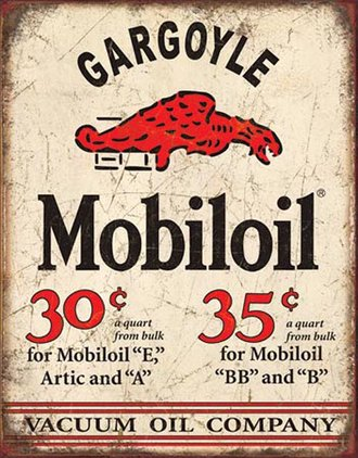 Tin Sign - Mobiloil Gargoyle (Weathered)