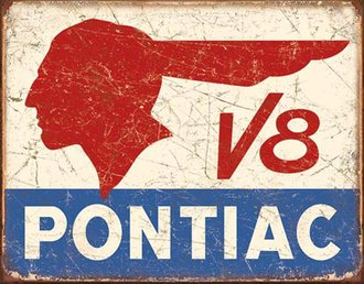 Tin Sign - Pontiac V8 (Weathered)