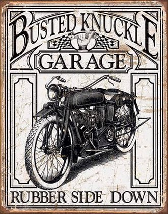 Tin Sign - Busted Knuckle Garage (Motorcycle) (Weathered)