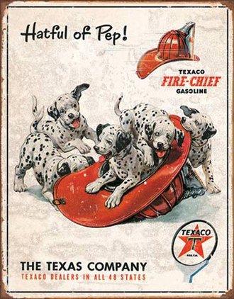 Tin Sign - Texaco Dalmatians - Hatful of Pep (Weathered)