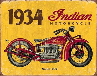 Tin Sign - Indian Motorcycles - 1934 Series 402 (Weathered)