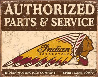 Tin Sign - Indian Motorcycles - Authorized Parts & Service (Weathered)