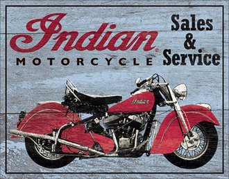 Tin Sign - Indian Motorcycles - Sales & Service (Wood Grain)