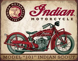 Tin Sign - Indian Motorcycles - Indian Scout (Weathered)