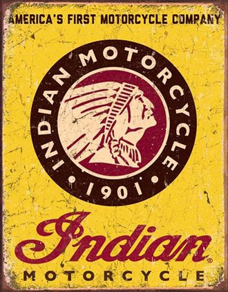 "Tin Sign - Indian Motorcycles - Model ""101"" Indian Scout (Weathered)"