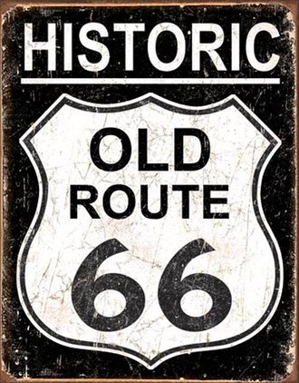 Tin Sign - Old Route 66 (Weathered)