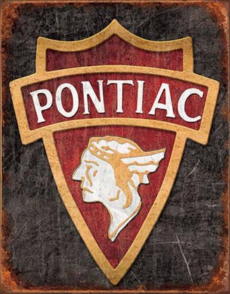 Tin Sign - 1930 Pontiac Logo (Weathered)
