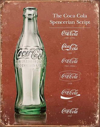 Tin Sign - Coke - The Coca-Cola Spencerian Script (Weathered)