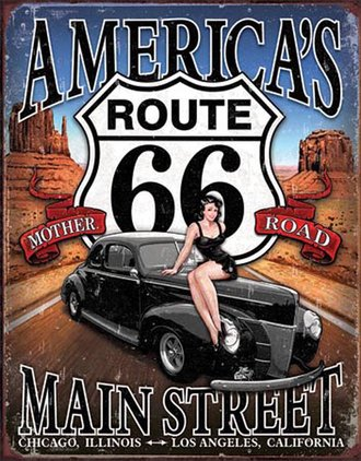 Tin Sign - Route 66 - America's Main Street (Weathered)