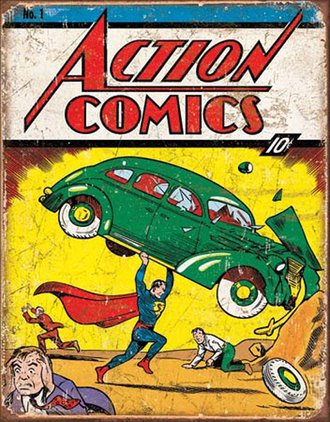 Tin Sign - Superman - Action Comics No1 Cover (Weathered)