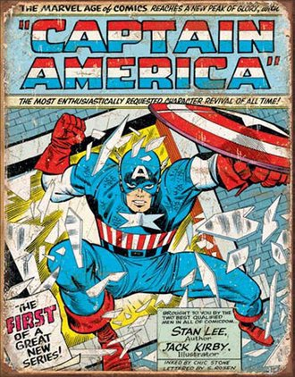 Tin Sign - Captain America Comic Cover (Weathered)
