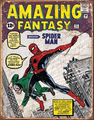 Tin Sign - Spider-Man - Amazing Fantasy Comic Cover (Weathered)