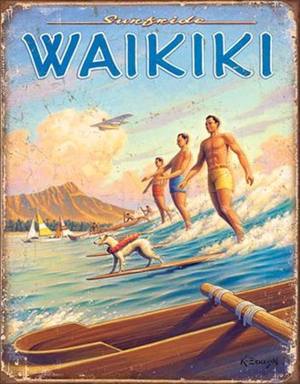 Tin Sign - Hawaii - Surfside Waikiki