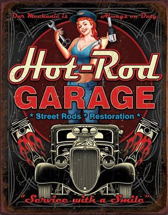 Tin Sign - Hot-Rod Garage - Pistons