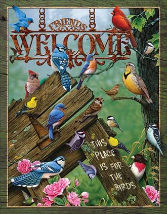 Tin Sign - Welcome - This Place is for the Birds