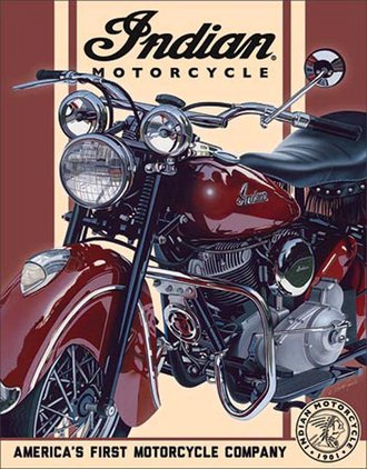 Tin Sign - Indian Motorcycles - 1948 Chief - America's First Motorcycle Company""