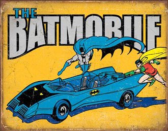 Tin Sign - Batman - The Batmobile w/Batman & Robin