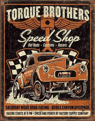Tin Sign - Torque Bros Speed Shop