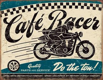 Tin Sign - Cafe Racer w/Motorcycle