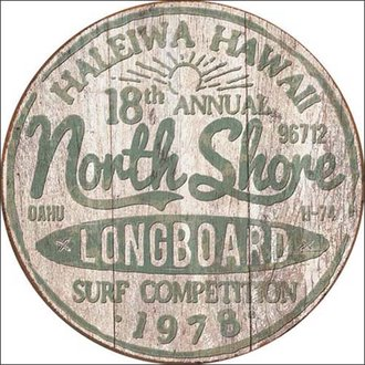 Tin Sign - North Shore Surf Competition (Round)