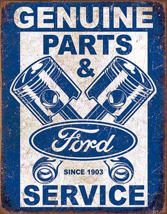 Tin Sign - Ford Genunie Parts & Service - Pistons