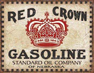Tin Sign - Red Crown Gasoline - Checker Board