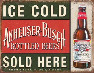Tin Sign - Anheuser-Busch - Ice Cold - Sold Here