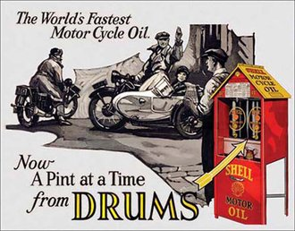 Tin Sign - Shell Motor Oil - World's Fastest Motorcycle Oil