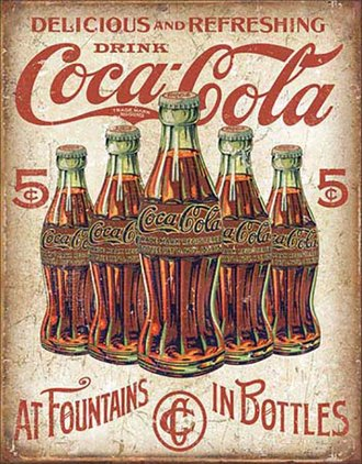 Tin Sign - Coca-Cola - 5 Bottles Retro