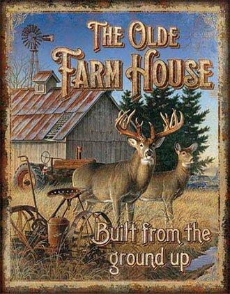 Tin Sign - The Olde Farm House - Deer