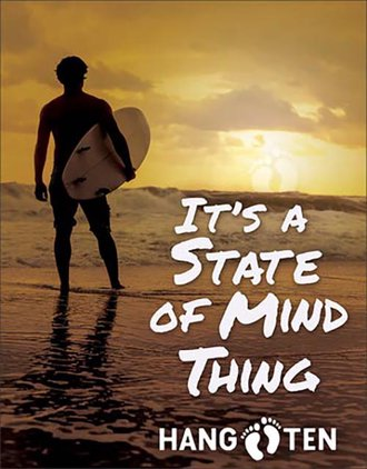 Tin Sign - Surfing- Hang Ten - It's a State of Mind Thing