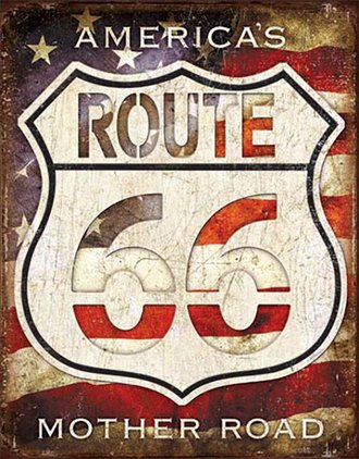 Tin Sign - Route 66 - America's Mother Road