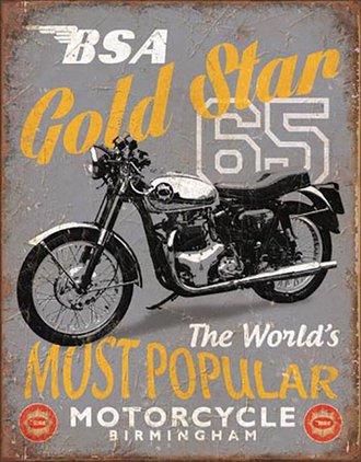 Tin Sign - BSA - '65 Gold Star Motorcycle
